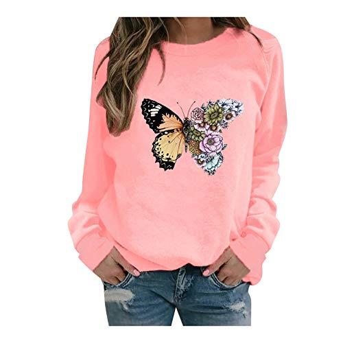 Blusa de manga larga para mujer con estampado de mariposas y plumas, ideal como regalo de Pascua o San Patricio (rosa-XL)