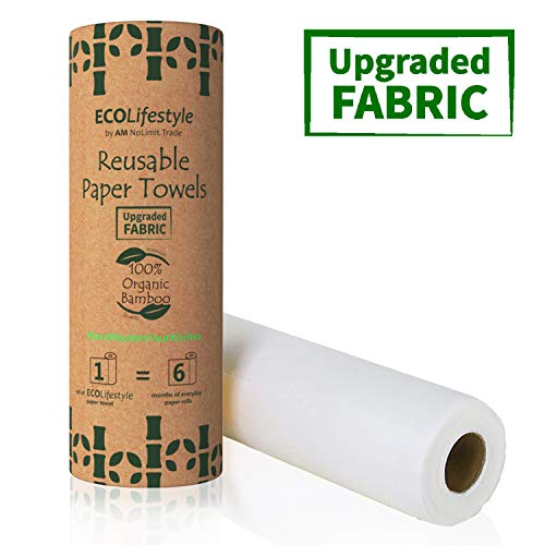 Bamboo Reusable Paper Towels Washable Roll (20 Sheets) Zero Waste Unpaper Towel Eco Friendly Products Sustainable Gifts - Kitchen Cleaning Rolls Alternative - Paper Towels Bulk Recycled Napkins Cloth