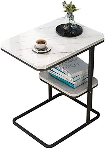 Lloow Tablas Simple nórdica de Estar Tabla del sofá del Dormitorio Coffee Corner, Top Efecto Mármol, 50 x 30 x 58 cm mesas de café,Blanco