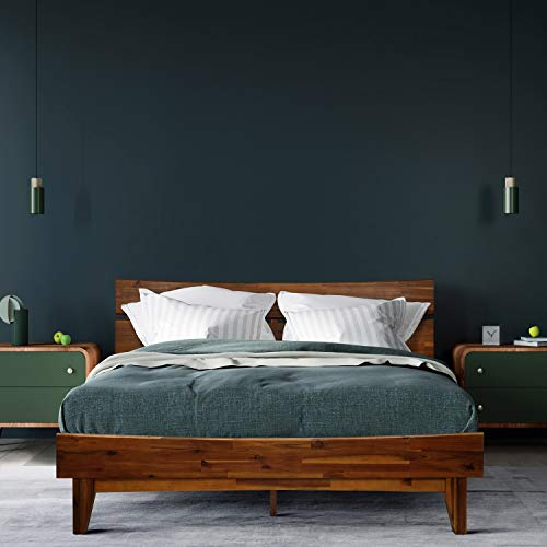 Acacia Aurora 14 Inch Wood Platform Bed Frame with Headboard, Queen Caramel