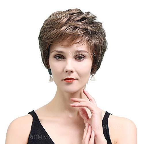 EMMOR Pelucas de cabello humano marrón corto para mujeres que se mezclan con peluca de corte pixie de color mezclado de fibra Kanekalon saludable, cabello natural de uso diario (color 8T20)