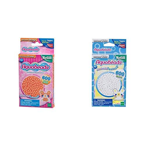 Aquabeads 32518 Perlen Bastelperlen nachfüllen orange & 32638 Perlen weiß