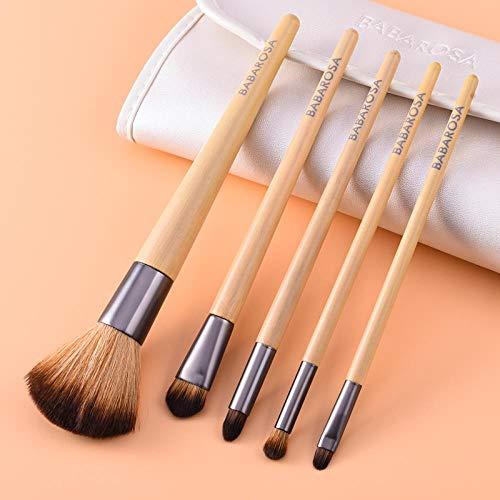 Ensemble De Pinceaux De Maquillage Ombre À Paupières Poudre Libre Pinceau Brosse À Sourcils Brosse À Lèvres Fond De Teint Blush , 5 Poignées En Bambou
