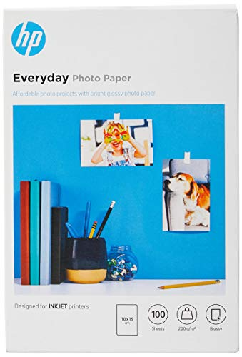 HP Everyday Glossy Photo Paper CR757A, Confezione da 100 Fogli di Carta Fotografica Lucida, Originali HP, Compatibile con Stampanti a Getto di Inchiostro, 10 x 15 cm, Grammatura 200 g/m², Bianco