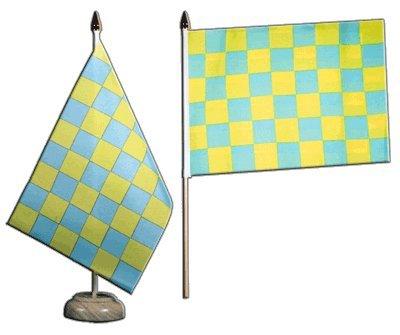 Flaggenfritze–Bandera de mesa bandera de cuadros verde amarillo + Gratis Pegatinas,