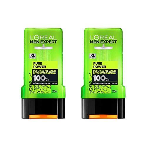 L'Oréal Men Expert Pure Power Lemon douchegel, verwijdert onzuiverheden en zweet, regenereert de huid zonder uit te drogen, poriëndiepe reiniging (2 x 300 ml)
