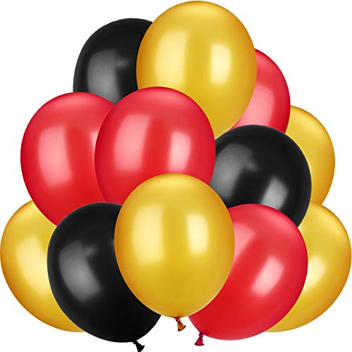 100 Pieces 13 inch Latex Balloons Colorful Round Balloons for Wedding Birthday Festival Party Decoration (Black, Red, Yellow)