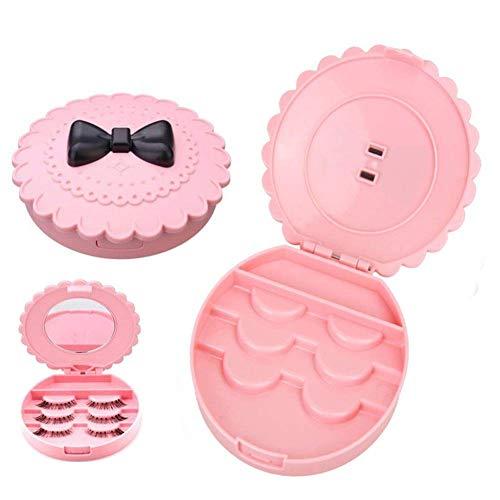 Ogquaton Rose Bow Knot Boîte de rangement de faux cils Maquillage Cosmétique Miroir Case Organizer Élégant et populaire