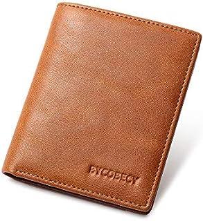 Card Wallets for Men RFID Blocking Credit Card Holder Minimalist Slim BiFold Wallet with ID Window (Brown)