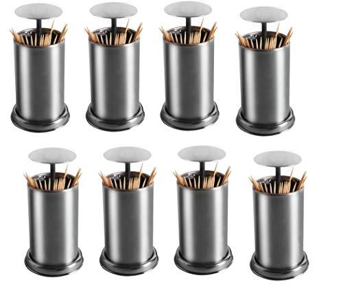 Roestvrij stalen tandenstoker dispenserhouder Cilinder (Pop Up Design) voor tandheelkundige gezondheid door BMTick UK/EU (Pack van 8)