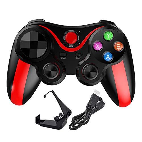EDTara Teléfono Gamepad Juego Controlador inalámbrico Bluetooth Joystick para Xiaomi Redmi PS3 Teléfono PC Jugadores Rojo
