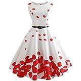 Vintage Dresses for Women, Retro Sunflower Print Sleeveless Tea Evening Party Short Dress (White-2, S)