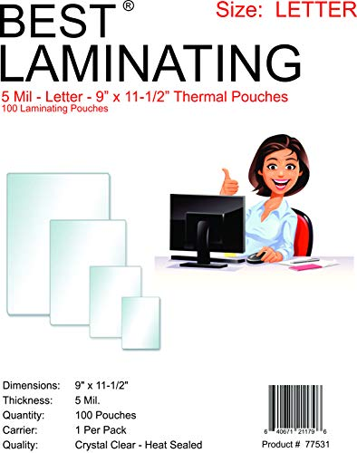 Best Laminating - 5 Mil Clear Letter Size Thermal Laminating Pouches - 9 X 11.5 - Qty 100
