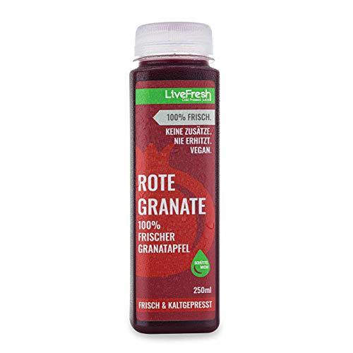 Livefresh Frisch & Kaltgepresster Granatapfelsaft - 250ml | ROTE GRANATE | Kaltgepresst aus frischen Kernen | Muttersaft | Keine Zusätze, kein zusätzlicher Zucker (30)