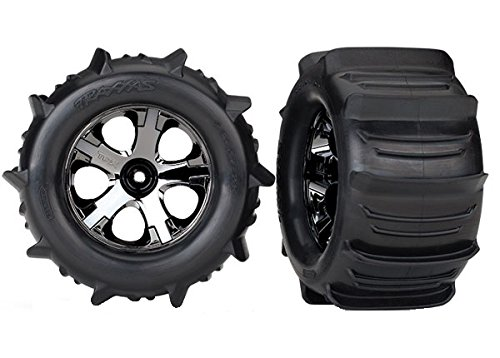 Traxxas 4175 Stampede Paddle Tires and Wheels Pre-Glued and Mounted (Pair)