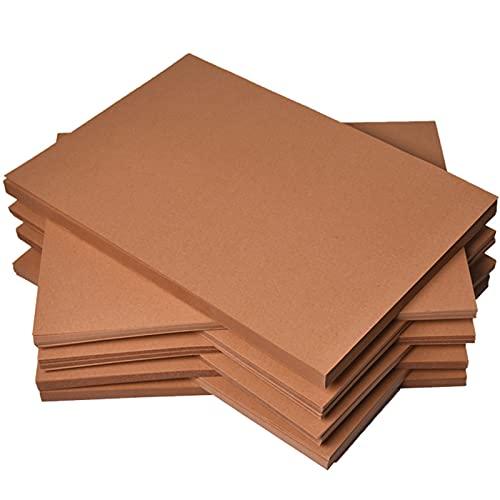 Papel para bocetos de dibujo, Wilecolly 200g Pulpa de madera pura de alta calidad Cartón Kraft Hojas de papelería marrón(01)