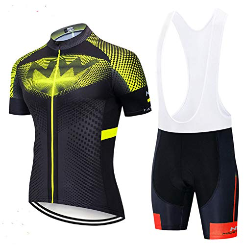 Men's Cycling Jersey Short-sleeved Cycling Jersey Suit Summer Comfortable and Quick-drying Cycling Sportswear (yellow,L)