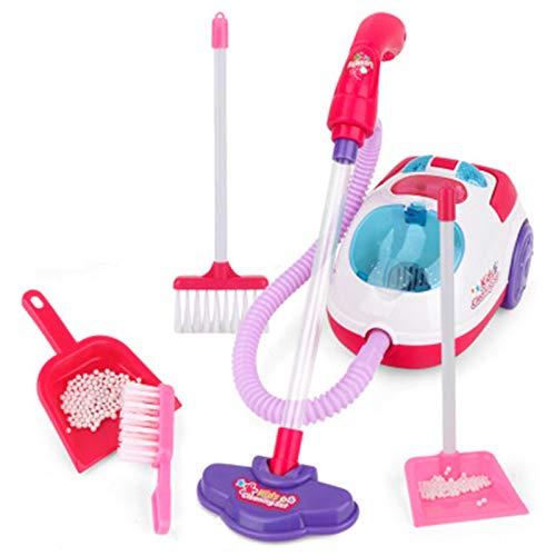 Anmy Juego de Limpieza de Juguetes - Pretender Play Limpieza de Juguete Incluye aspiradora eléctrica Cepillo de Escoba Dustpan Toy Kit de Limpieza para niños Kit de Limpieza de Juguetes