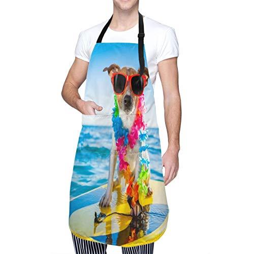 DAHALLAR Ajustable Personalizado Delantal Impermeable,Perro surfeando en una tabla de surf con una cadena de flores y gafas de sol, en la orilla del mar,Babero de Cocina Vestido con 2 Bolsillos
