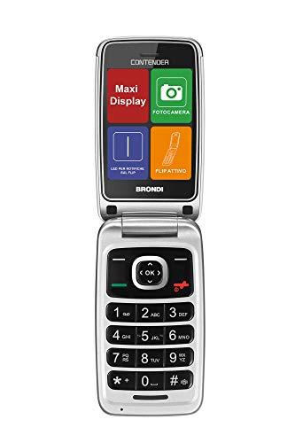 Brondi Contender Teléfono Móvil GSM Dual SIM con botones grandes, Blanco