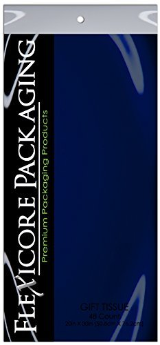 Flexicore Packaging Navy Blue Gift Wrap Tissue Paper Size: 20 Inch X 30 Inch   Count: 48 Sheets   Color: Navy Blue