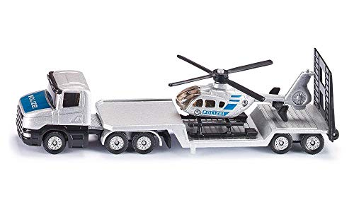 SIKU 1610, Polizei Tieflader mit Helikopter, Metall/Kunststoff, Silber, Öffenbare Heckklappe, Abkoppelbarer Auflieger