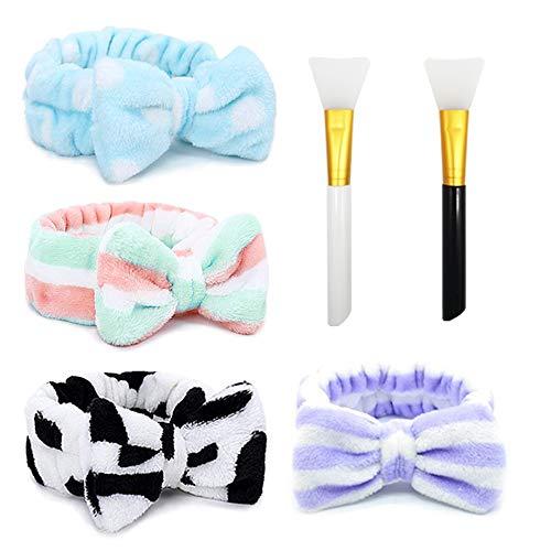 Cinta pelo, Fexinshern 4 piezas Diademas Mujer, Diadema con lazo de mujer, con 2 Cepillos de Silicona, Uso para Lavado de Cara, Ducha, Maquillaje, Yoga(B)