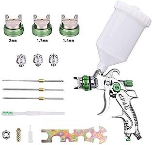SEAAN Kit de pulverizador de pintura HVLP, taza de 600 cc, boquillas de 1,4/1,7/2,0 mm, juego de herramientas de pistola de pulverización de alimentación por gravedad para pintar muebles y coches