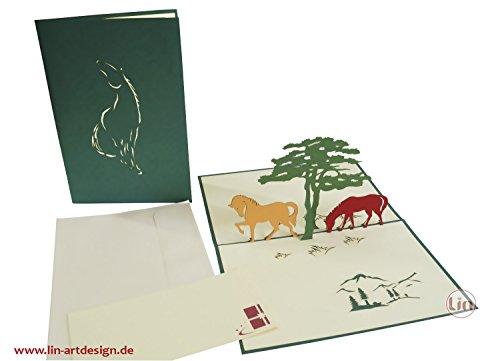 Lin Geburtstag Grußkarte 3D–Pferde