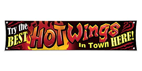 Best HOT Wings Banner (12 inches X 52 inches) Sign Open Display Fast Food Restaurant Tailgate Party Lona Lunch