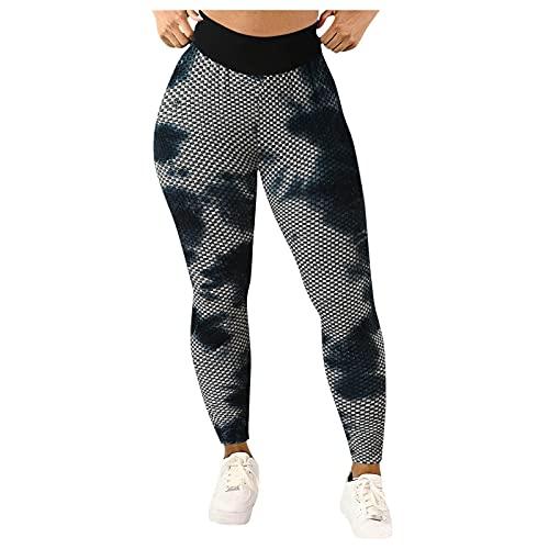 KYZRUIER TIK-Tok Damen Yogahose mit hoher Taille, Wabenmuster, Bauchkontrolle, schmal, Booty, Leggings, Workout, Laufen, Butt Lift Tights