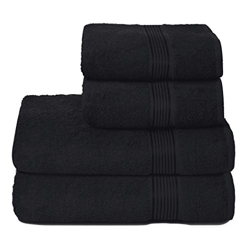 GLAMBURG Juego de 4 Toallas Ultra Suaves, de algodón, Contiene 2 Toallas de baño de 70 x 140 cm, 2 Toallas de Mano de 50 x 90 cm, Uso Diario, Compacto y Ligero, Color Negro