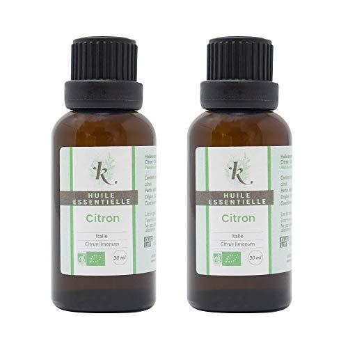 KLARCHA - Duo XL Citron - 2 x 30 ml - Huile Essentielle Artisanale Bio HEBBD - 100% Pure et Naturelle - Issue de l'Agriculture Biologique - Labellisée ECOCERT - Sans OGM - Conditionnée en France