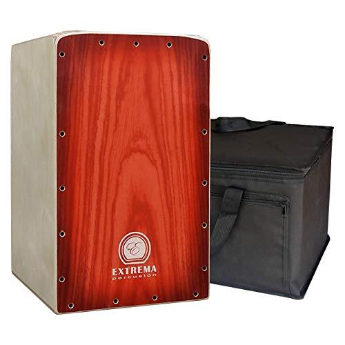 Extrema Percusión - Cajón Flamenco Profesional modelo Intact Decor Rojo con Funda Acolchada de Regalo