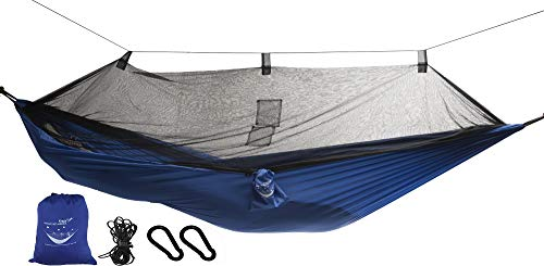 Krazy Outdoors Mosquito Net Hammock - Extra Strong Ripstop Nylon Camping Hammock - Reversible, Compact, Lightweight & Portable with Bug Free Netting - Great for Travel, Beach or Yard (Blue)
