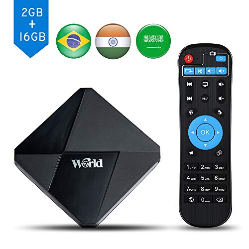World IPTV Box, Android TV Receiver, 1600+ 4K HD International Live Channels from India, Brasil, America, Europe, Asia, Including Sports Movies News Adult Channels, 2020 Newest Upgraded Version