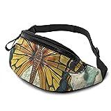 mengmeng Bolsa de cintura con diseño de mariposa retro para correr, para hombres y mujeres, unisex, bolsa de cinturón ajustable, para entrenamiento al aire libre, senderismo, regalos