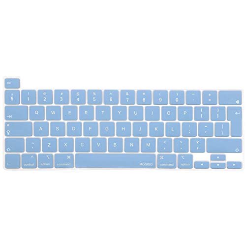 MOSISO Keyboard Cover Compatible with 2020 MacBook Pro 13 inch A2338 M1 A2289 A2251 & 2019 MacBook Pro 16 inch A2141 with Touch ID & Retina Display, Protective Silicone Skin, Airy Blue