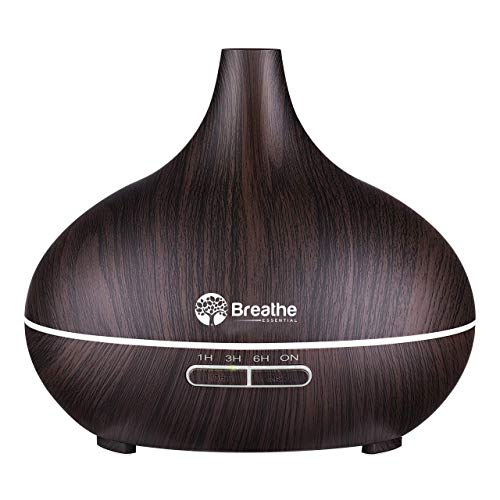 Breathe Essential Oil Diffuser | 550ml Diffusers for Essential Oils with Measuring Cup amp Cleaning Kit | 16 LED Color Light Options 4 Timer Settings 2 Mist Outputs Auto Power Off | Espresso