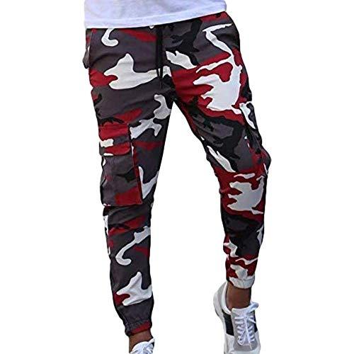 Miwaimao Hommes Marque de Hip-hop Mode Casual Crayon Pantalon Pantalon de Jogging Homme Outdoor Camouflage Pantalon de Fitness Pantalon de Sport - Rouge - Medium