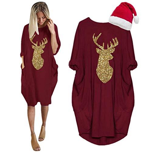 LOPILY Weihnachtskleid Damen Große Größen Pailletten Glitzer Weihnachten Jumperkleid mit Rentier Goldene Weihnachten Sweatkleider Damen Xmas Ausgestellte Umstand Weihnachtskleider Christmas (Rot, 40)
