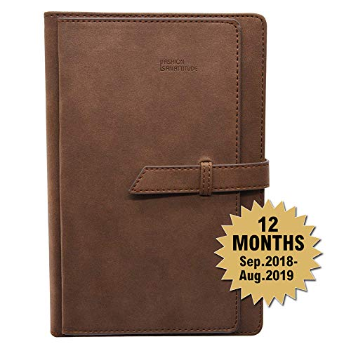 Daily Calendar Planner Sep. 2018 Through Aug 2019,Monthly Bullet Journal Organizer with Card Slots Pen Holder,A5 Faux Leather Cover,320 Beige Pages,Dated,Perfect for Use in Academic Year(Brown)
