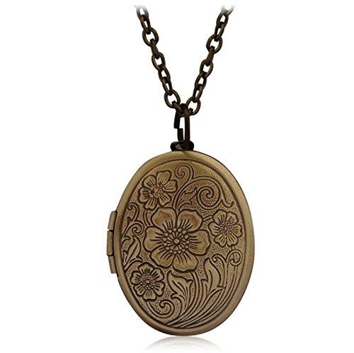 Beydodo Collana Placcato Oro Collana con Portafoto Locket Collana Medaglione Antico Ciondolo Ovale Gioielleria Commemorativa