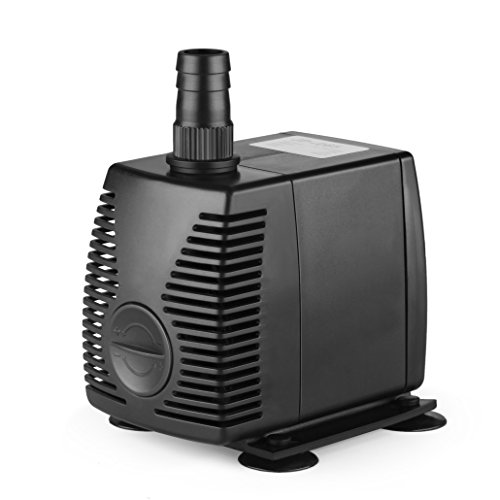 Flexzion Submersible Water Pump Powerhead 320 GPH with Adjustable Flow Rate Suction Cup Mount for Aquarium Fish Tank Fountain Pond Spout Statuary Hydroponic System