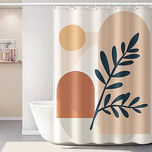 YellyHommy Abstract Art Shower Curtain for Bathroom Aesthetic Terracotta Bathroom Décor Mid Century Modern Bath Curtain Sets with 12 Hooks 72 x 72 Inches Fabric Boho