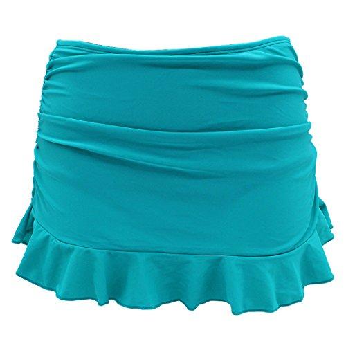 SHEKINI Swim Skirt Pezzo sotto Bikini Donna Gonna Briefs Vestito Nuotata Parte Inferiore Pantaloni Gonna con Pantaloncino da Nuoto Costumi da Bagno Ruched Gonna da Spiaggia (Small, Cyanine)