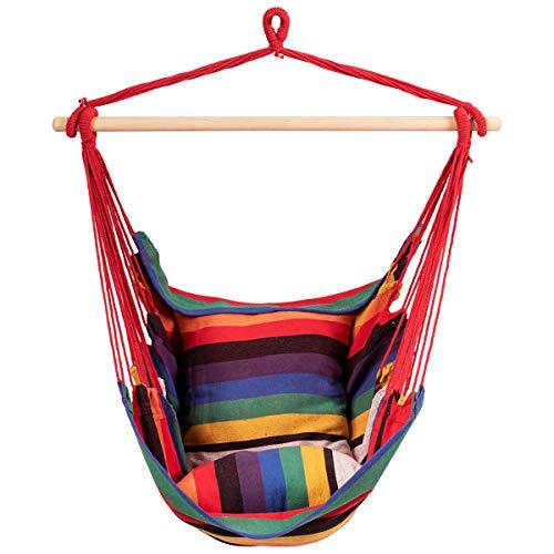 DREAMADE Hängesessel Hängestuhl mit 2 Kissen und Querholz, Hängematte Hängesitz geeignet für Zuhause Garten Terrasse, Hängeschaukel für Kinder und Erwachsene, 120kg belastbar (Rotbunt)