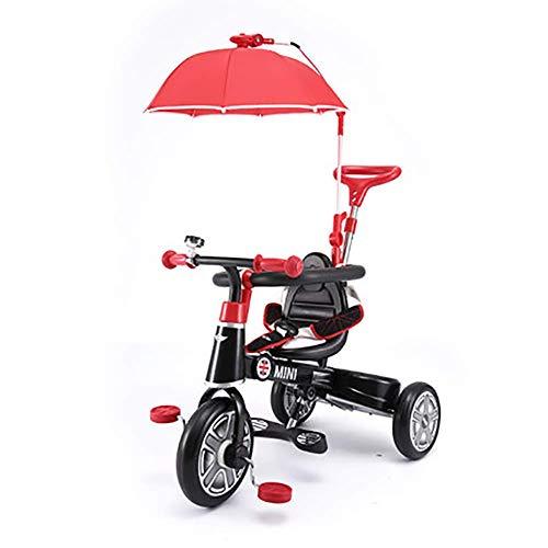 LNDDP Smart Design 3-en-1 pour Enfants Tricycle 3 Roues vélo Parents poignée, avec Parasol et barrière sécurité Kids Trike, pour 10-48 Mois bébé