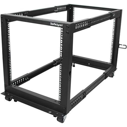 "StarTech.com 12U Open Frame Server Rack - 4 Post Adjustable Depth (22"" to 40"") Network Equipment Rack w/ Casters/ Levelers/ Cable Management (4POSTRACK12U),Black"