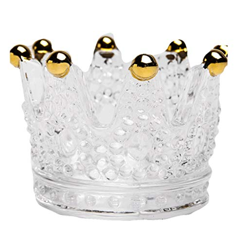 zlw-shop Candle Holders Crystal Glass Crown Candle Holder Nordic Creative Candlestick Candlelight Dinner Props Candlestick Holder